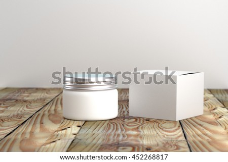 Cosmetic  packaging template white and silver screw cap with box on wood table organic feeling 3d rendered - stock photo