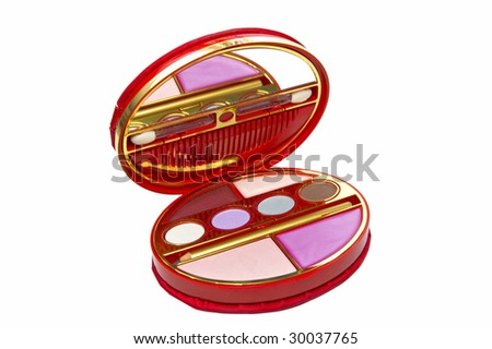cosmetic shadows on white background isolated - stock photo