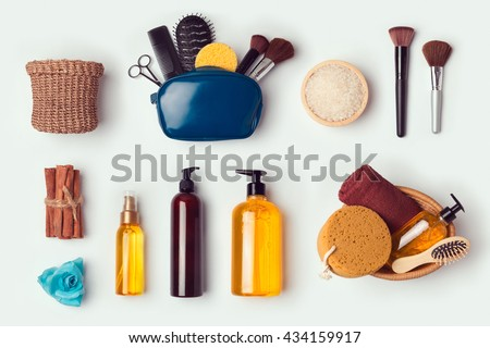 Cosmetic SPA and personal hygiene mock up template for branding identity design. View from above. Flat lay - stock photo
