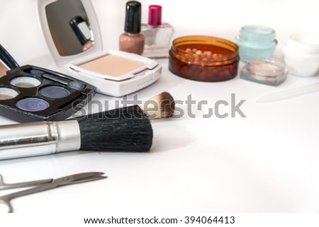 cosmetic things for best makeup on white - stock photo