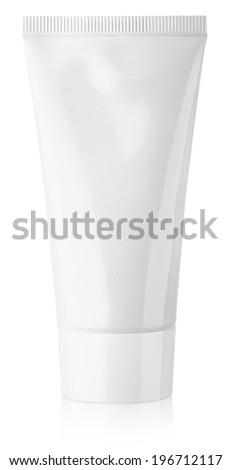 Cosmetic tube of cream or gel isolated on white background - stock photo