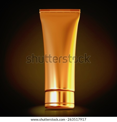 Cosmetics containers, packaging on black background. High resolution. - stock photo