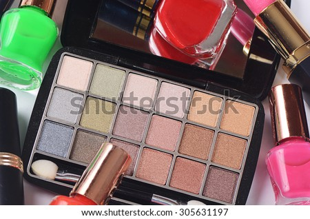 cosmetics set for a make-up close up - stock photo