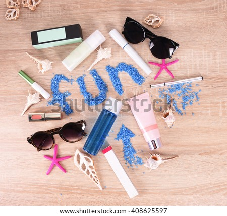 cosmetics set for make-up  - stock photo