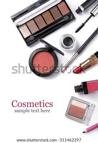 Cosmetics set isolated on white - stock photo
