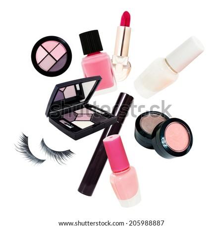 Cosmetics set isolated on white background - stock photo