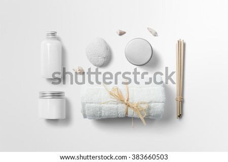 Cosmetics SPA branding mock-up, top view, on white background, place you design - stock photo