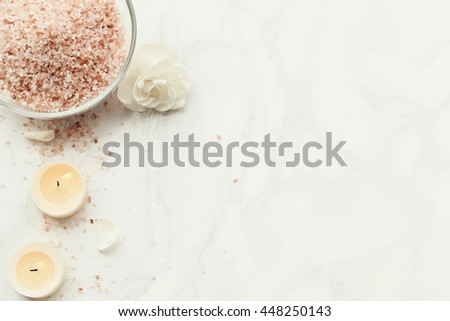 Cosmetology. Sea salt and candles - stock photo
