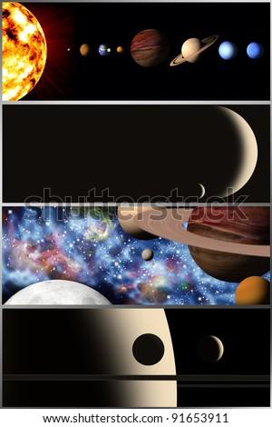 cosmic banners - stock photo