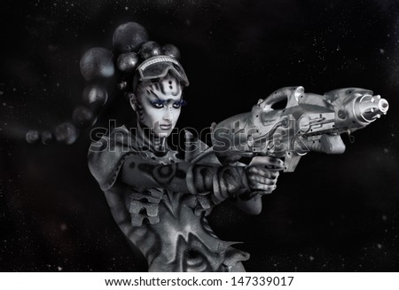 Cosmic Hero.Fine art portrait - stock photo