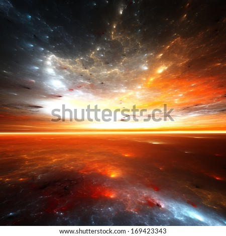Cosmic horizons - abstract digital render - stock photo
