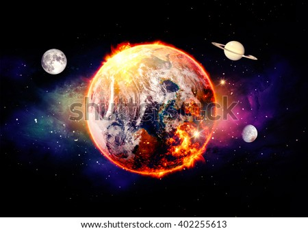 cosmic landscape, global warming over color - Elements of this image furnished by NASA  - stock photo