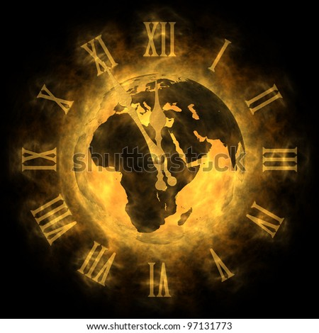 Cosmic time - global warming and climate change - Europe - stock photo