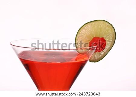 cosmopolitan martini fresh Cocktail isolated on white studio - stock photo