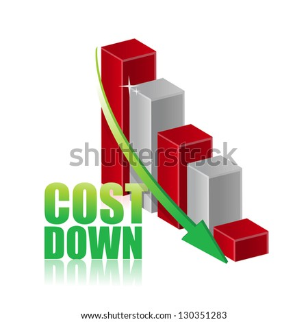 Cost down business chart graph illustration design over white - stock photo