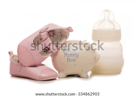 cost of a baby girl cutout - stock photo