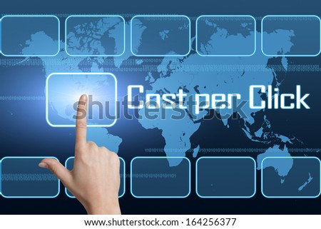Cost per Click concept with interface and world map on blue background - stock photo
