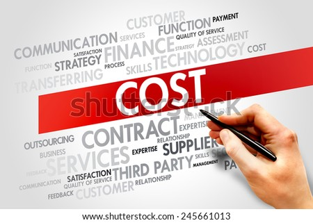 Cost related items words cloud, business concept - stock photo