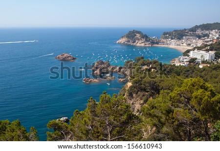 Costa Brava landscape, Tossa de Mar, Catalonia, Spain - stock photo