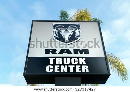 COSTA MESA, CA/USA - OCTOBER 17, 2015: Dodge Ram Truck Center sign and logo. - stock photo