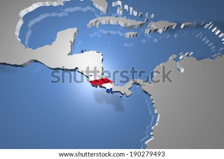 Costa Rica Country Map on Continent 3D Illustration - stock photo