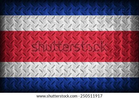 Costa Rica flag pattern on the diamond metal plate texture ,vintage style - stock photo
