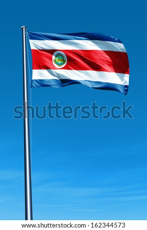 Costa Rica flag waving on the wind - stock photo