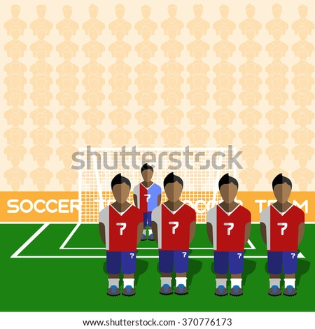 Costa Rica Football Club Soccer Players Silhouettes. Computer game Soccer team players big set. Sports infographic. Football Teams in Flat Style. Goalkeeper Standing in a Goal. - stock photo