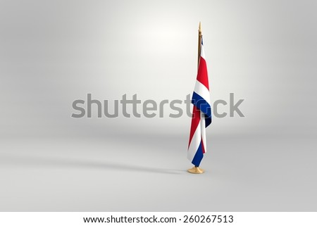 Costa Rica isolated flag on a brown and golden wooden mast 3d illustration - stock photo