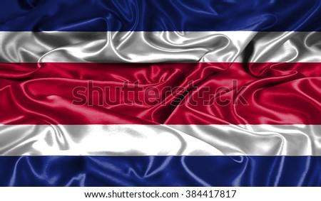 Costa Rica silk flag - stock photo