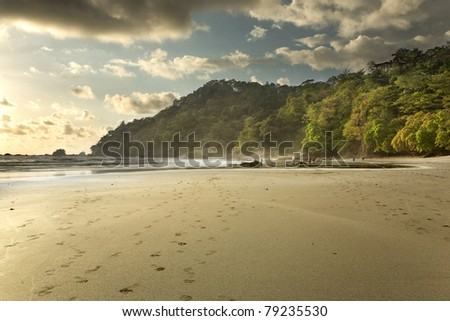 Costa Rican Beach at Sunset - stock photo