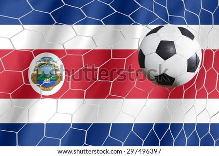 Costarica flag and soccer ball - stock photo
