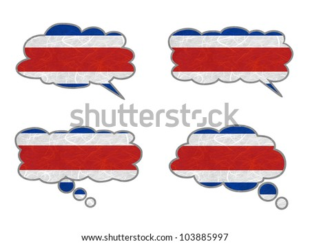 CostaRica Flag. Dialog box recycled paper on white background. - stock photo