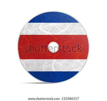 CostaRica flag DVD. Mulberry paper on white background. - stock photo