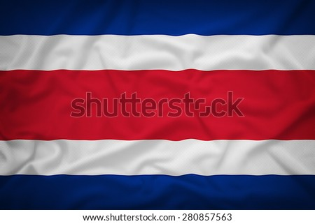 CostaRica flag on the fabric texture background,Vintage style - stock photo