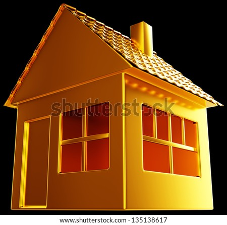 Costly realty: golden house shape on black. Useful for business - stock photo