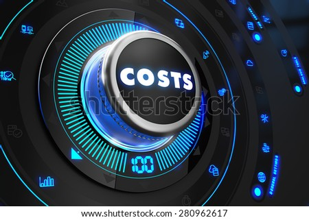 Costs  Controller on Black Control Console with Blue Backlight. Improvement, regulation, control or management concept. - stock photo