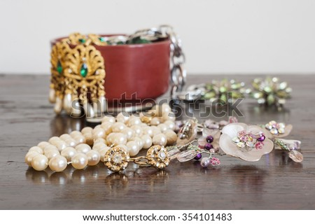 Costume jewelry. Earrings. - stock photo