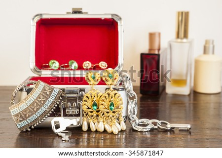 Costume jewelry. Earrings, necklaces, bracelets. Accessories for women - stock photo