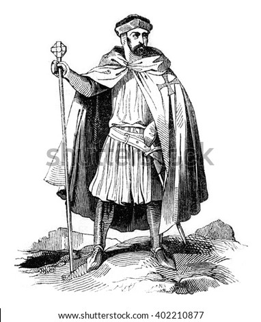 Costume Templar, vintage engraved illustration. Colorful History of England, 1837.