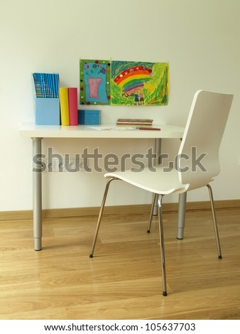 Cosy and colorful workplace ideal for children - stock photo