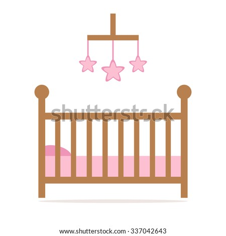 Cot. Cot icon. Little baby crib. Pink crib details. Cot isolated icon. Wooden crib on white background. Flat style illustration.  - stock photo