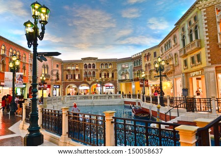 COTAI STRIP, MACAU, CHINA - MAR 8th 2013 : The Venetian Hotel, Macao - The famous shopping mall, luxury hotel and the largest casino in the world - stock photo