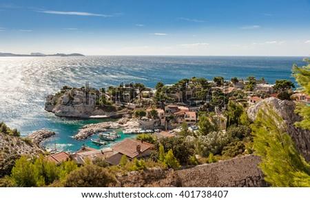 Cote d`azur, Calanque de Niolon, Bay of Marseille, Provence, France - stock photo