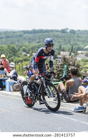 COTE DE COULOUNIEIX-CHAMIERS,FRANCE - JULY 26:Sebastien Reichenbach (IAM Team) pedaling  on a steep slope, during the stage 20 (time trial Bergerac - Perigueux) of Le Tour de France on July 26, 2014  - stock photo
