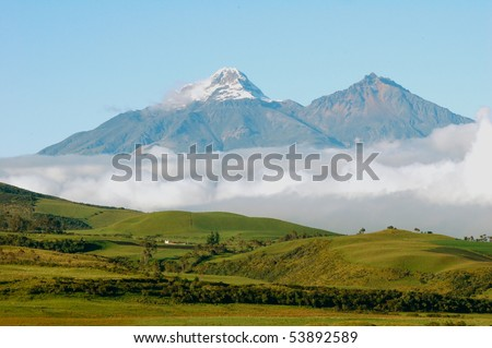 Cotopaxi is a volcano in the Andes Mountains near Quito, Ecuador.  It is the 2nd highest summit in the country. - stock photo