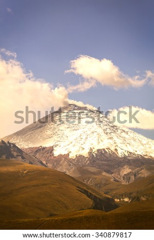 Cotopaxi Volcano, Also Called Neck Of The Moon, South America - stock photo
