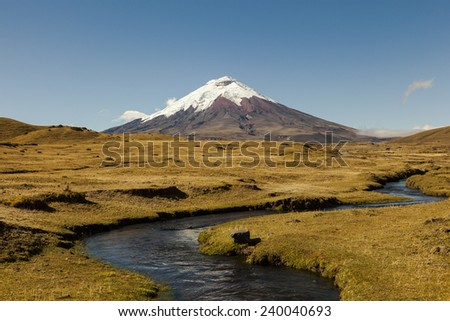Cotopaxi volcano and river - stock photo