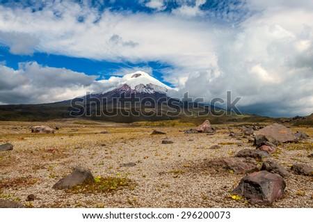Cotopaxi volcano over the plateau, Andean Highlands of Ecuador, South America - stock photo
