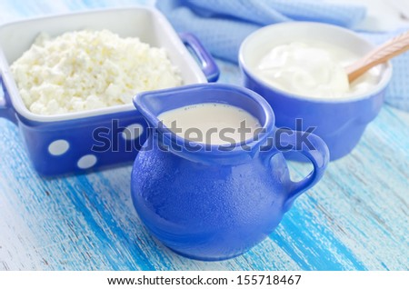 Cottage and milk - stock photo